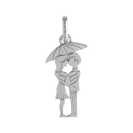 Pendentif amoureux sous parapluie Or 9 carats gris - La Petite Française