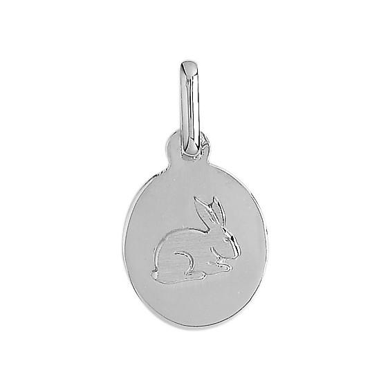 Médaille lapin ovale Or 9 carats gris - La Petite Française