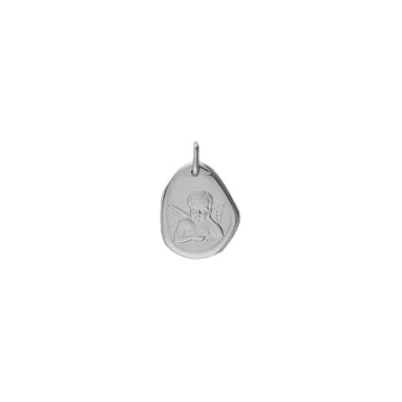 Médaille ange rêveur Or 9 carats gris - La Petite Française