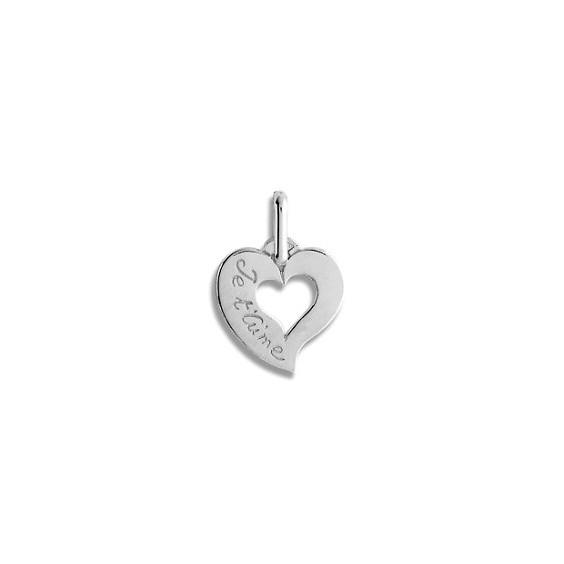Pendentif coeur je t'aime Or 9 carats gris - La Petite Française