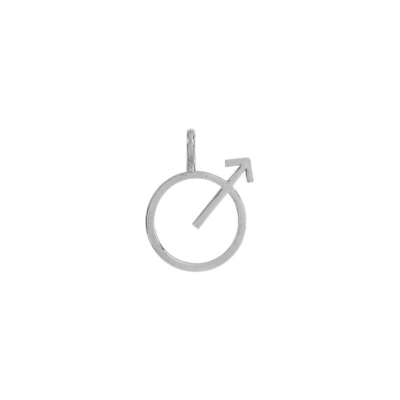 Pendentif symbole masculin or 9 carats gris - La Petite Française