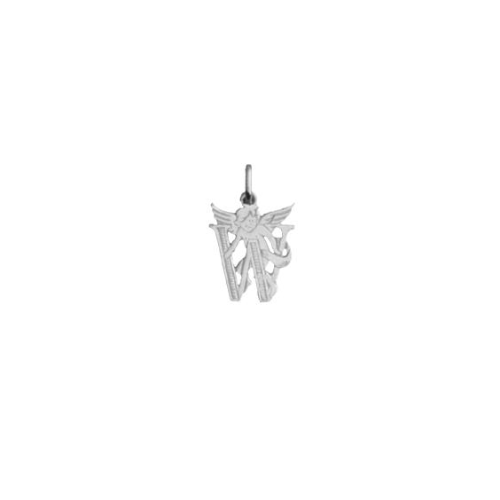 Pendentif ange lettre W Or 9 carats gris - La Petite Française