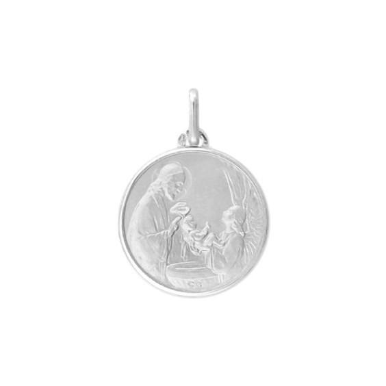 Médaille le baptême - 16 mm - Or 9 carats gris - La Petite Française