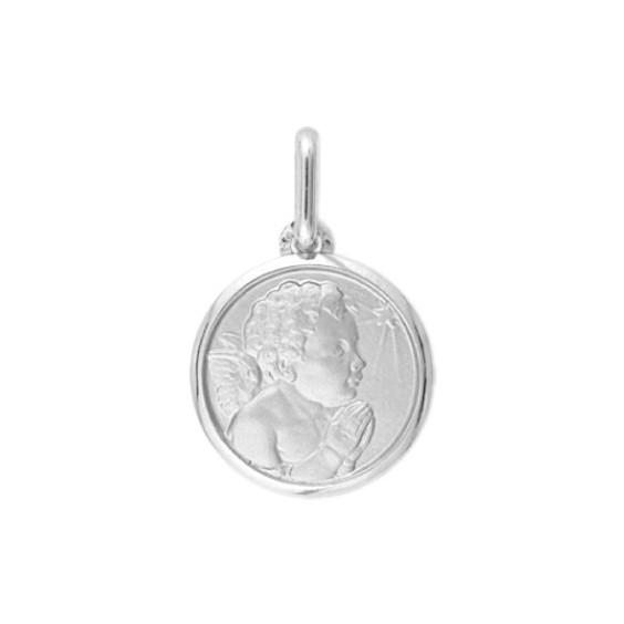 Médaille ange en prière étoile - 16 mm - Or 9 carats gris - La Petite Française