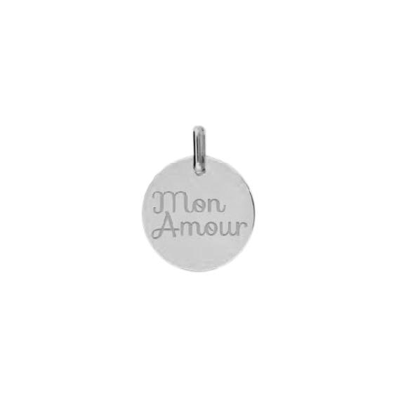 Pendentif Mon amour Or 9 carats gris - La Petite Française