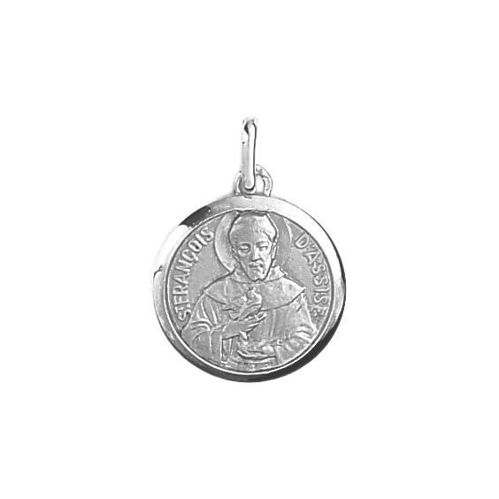 Médaille Saint François d'Assises - 16 mm - Or 9 carats gris - La Petite Française
