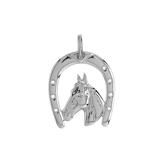 Pendentif fer et tête de cheval Or 9 carats gris 37 MM - La Petite Française