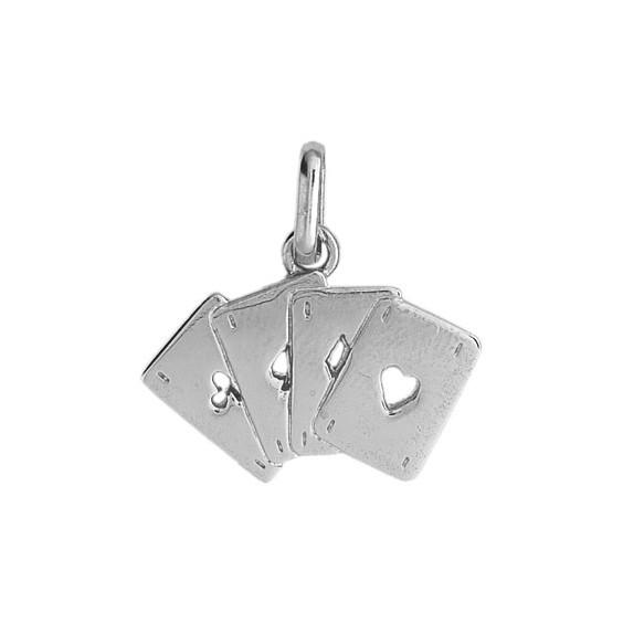 Pendentif cartes à jouer 4 as Or 9 carats gris - La Petite Française