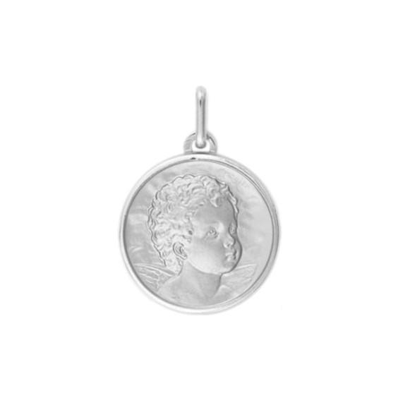 Médaille ange - 17 mm - Or 9 carats gris - La Petite Française