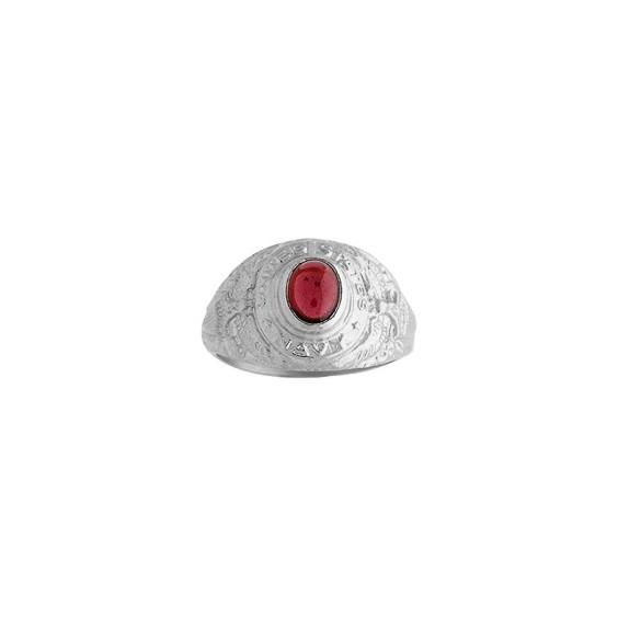 Chevalière Us Navy rhodolite Or 9 carats gris - La Petite Française