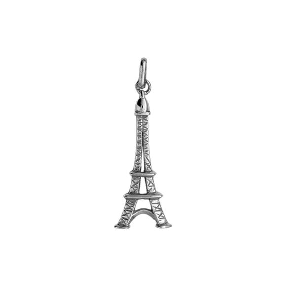Pendentif tour Eiffel Or 9 carats gris - 35 MM - La Petite Française