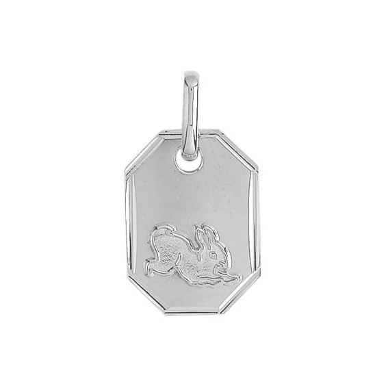 Médaille lapin rectangle Or 9 carats gris - La Petite Française