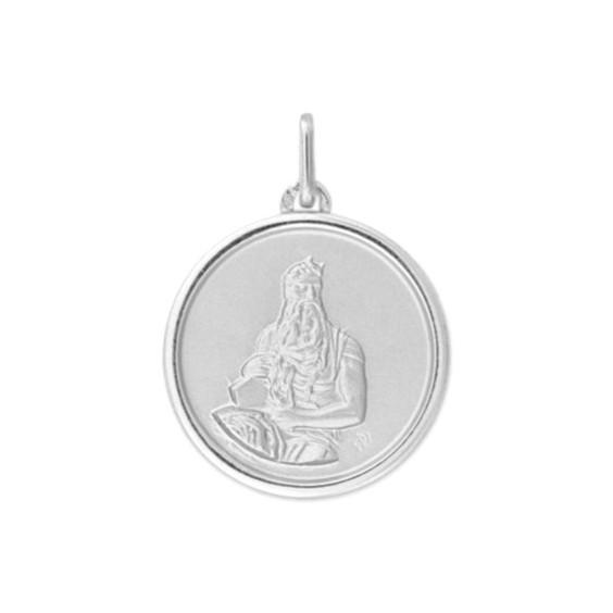 Médaille Moïse - 20 mm - Or 9 carats gris - La Petite Française