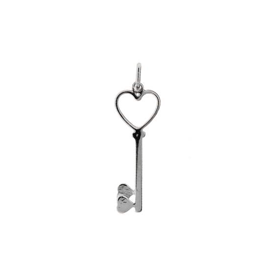 Pendentif clef 2 coeurs Or 9 carats gris - La Petite Française