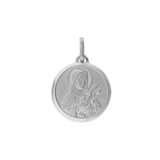 Médaille Sainte Thérèse - 16 mm - Or 9 carats gris - La Petite Française