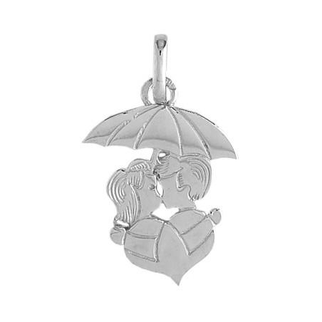 Pendentif amoureux sous parapluie et coeur Or 9 carats gris - La Petite Française