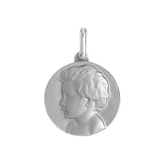 Médaille enfant - 14 mm - Or 9 carats gris - La Petite Française