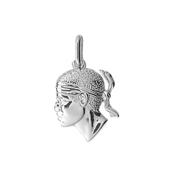 Pendentif tête de Maure Or 9 carats gris - 23 MM - La Petite Française