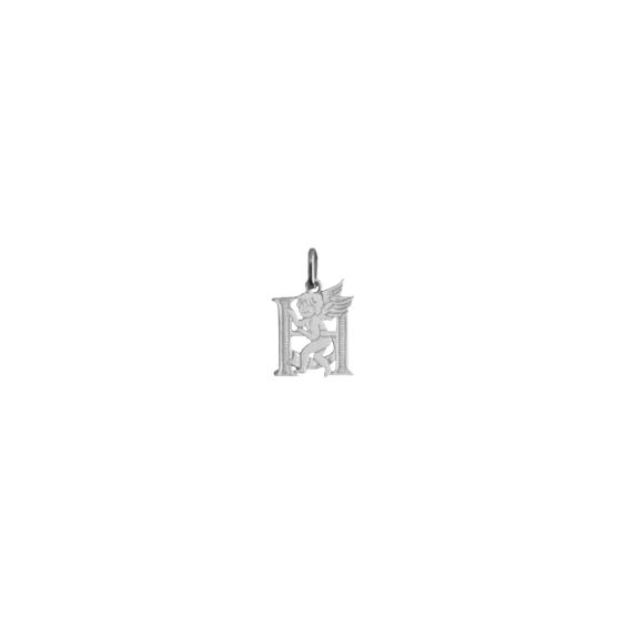 Pendentif ange lettre H Or 9 carats gris - La Petite Française