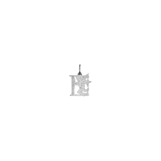 Pendentif ange lettre E Or 9 carats gris - La Petite Française