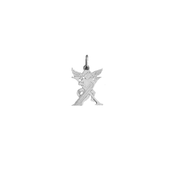 Pendentif ange lettre X Or 9  carats gris - La Petite Française