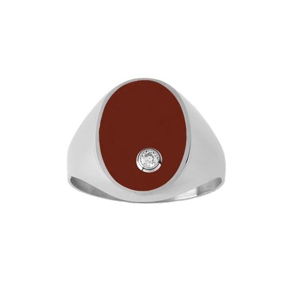 Chevalière cornaline, diamant Or 9 carats gris - La Petite Française