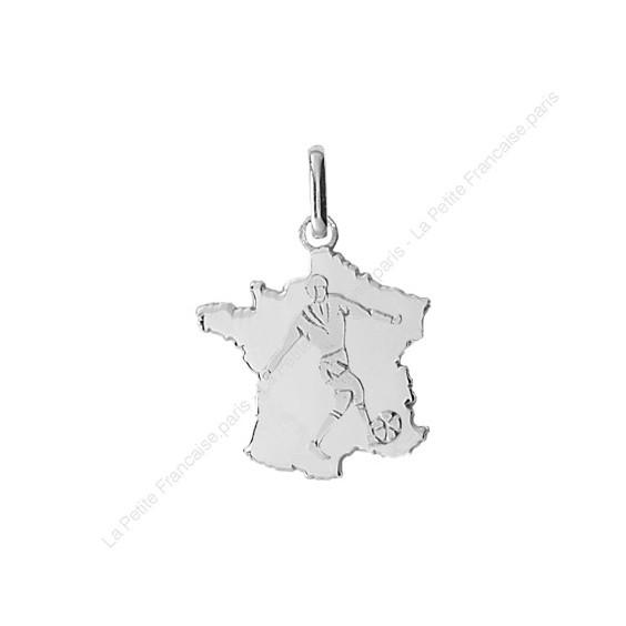 Pendentif carte de France avec footballeur Or 9 carats gris - La Petite Française