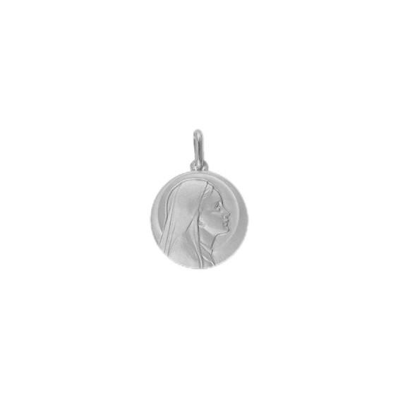 Médaille Sainte-Vierge - 20 mm - Or 9 carats gris - La Petite Française