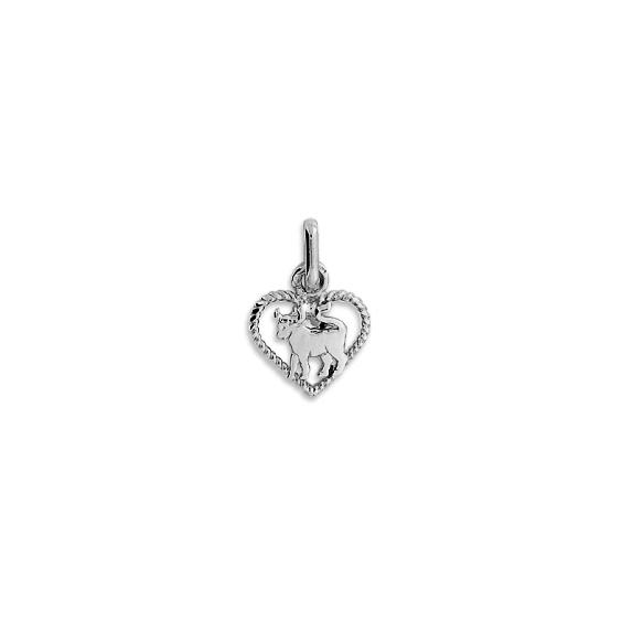 Pendentif coeur taureau Or 9 carats gris - La Petite Française