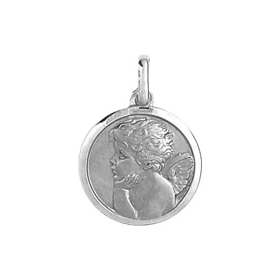 Médaille ange rêveur - 20 mm - Or 9 carats gris - La Petite Française