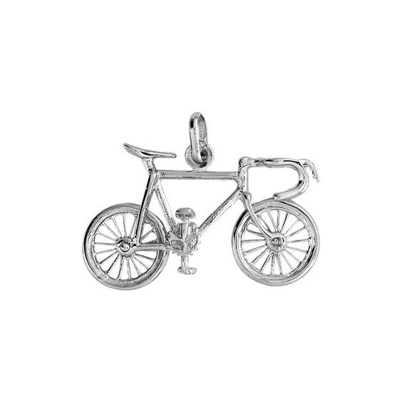 Pendentif vélo de course Or 9 carats gris - La Petite Française