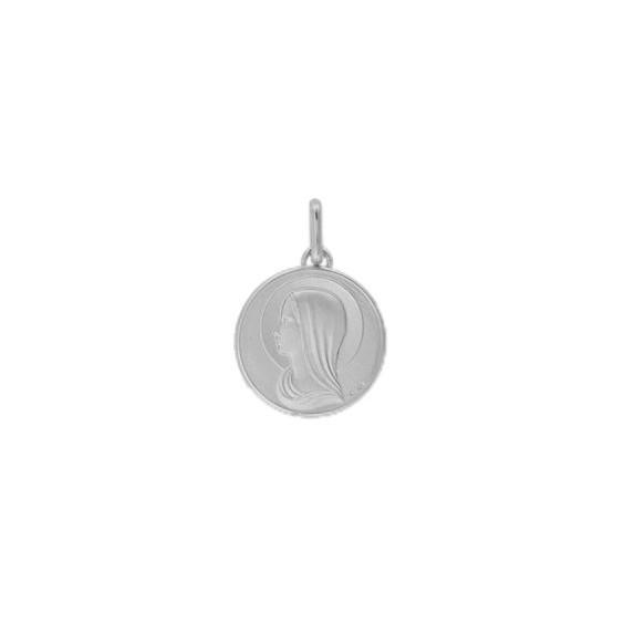 Médaille Sainte-Vierge - 15 mm - Or 9 carats gris - La Petite Française
