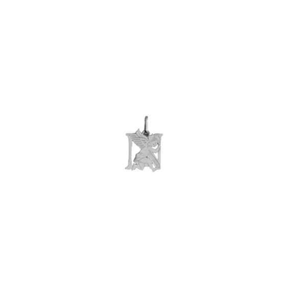 Pendentif ange lettre N Or 9 carats gris - La Petite Française