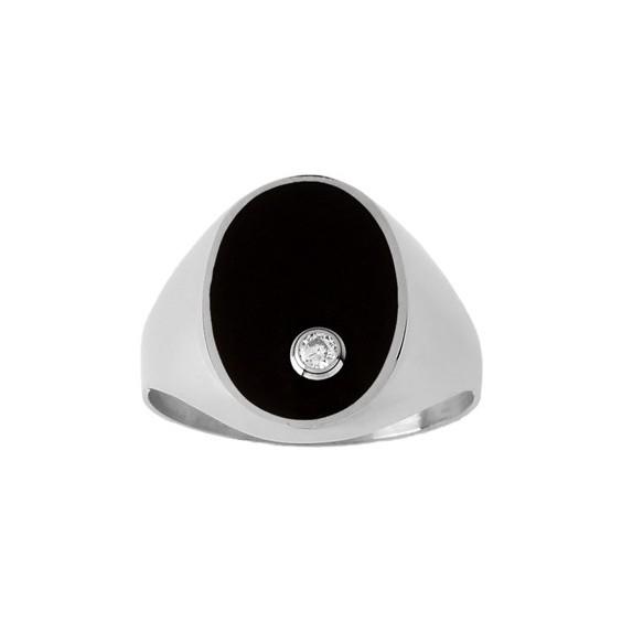 Chevalière onyx, diamant Or 9 carats gris - La Petite Française