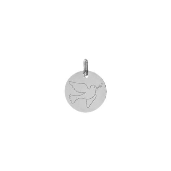 Médaille colombe de la paix Or 9 carats gris - La Petite Française