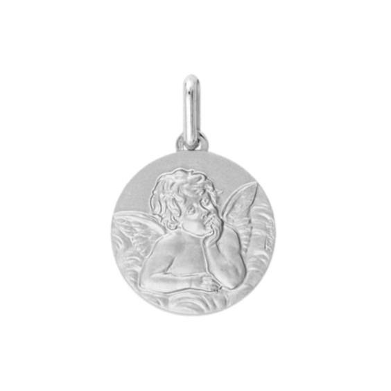 Médaille ange de Raphaël - 14 mm - Or 9 carats gris - La Petite Française