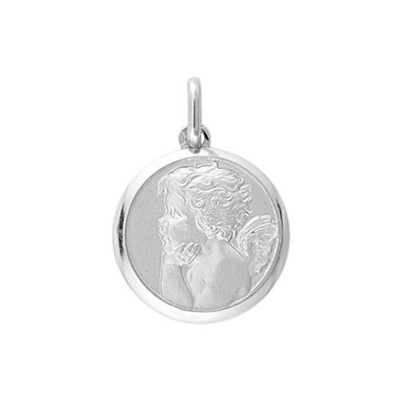 Médaille ange rêveur - 16 mm - Or 9 carats gris - La Petite Française