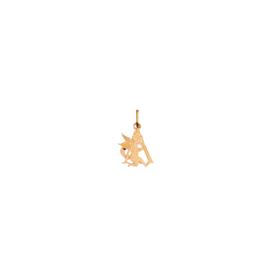 Pendentif ange lettre A Or 9 carats jaune - La Petite Française