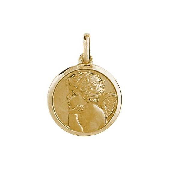 Médaille ange rêveur - 20 mm - Or 9 carats jaune - La Petite Française