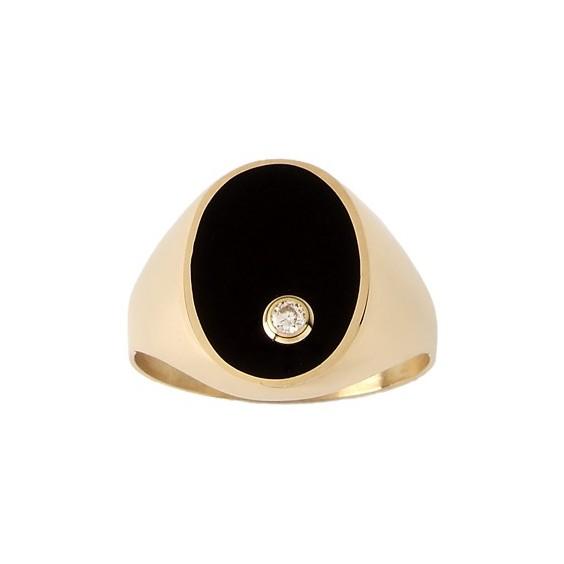 Chevalière onyx, diamant Or 9 carats jaune - La Petite Française