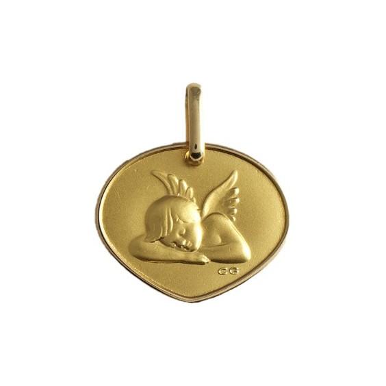 Médaille triangulaire ange Or 9 carats jaune - La Petite Française