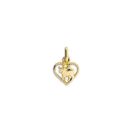 Pendentif coeur taureau Or 9 carats jaune - La Petite Française