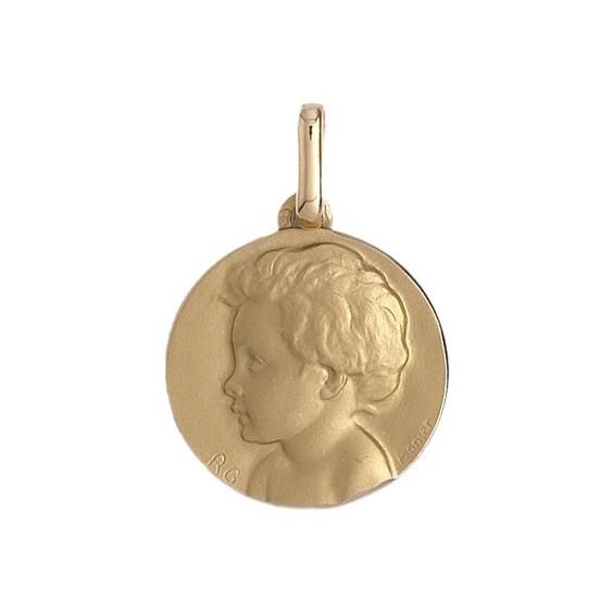 Médaille enfant - 14 mm - Or 9 carats jaune - La Petite Française