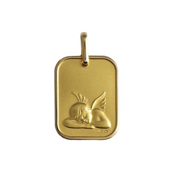 Médaille ange endormi rectangulaire Or 9 carats jaune - La Petite Française