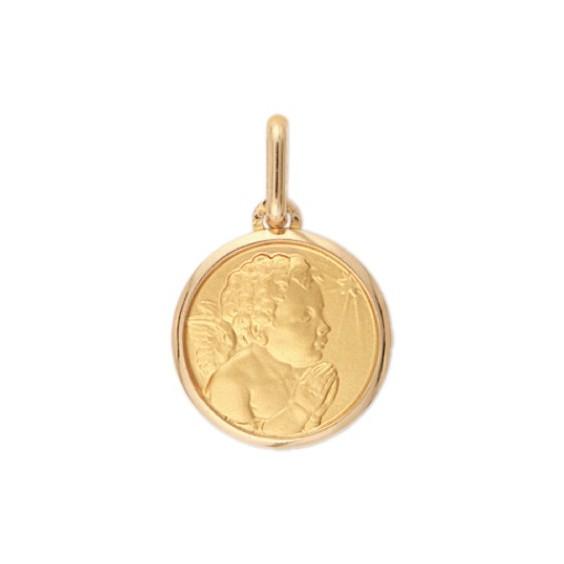 Médaille ange en prière étoile - 16 mm - Or 9 carats jaune - La Petite Française