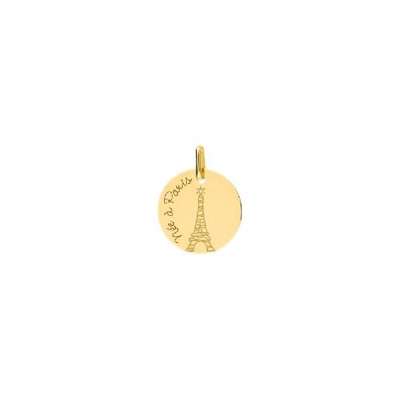 Médaille née à Paris et tour Eiffel Or 9 carats jaune - La Petite Française
