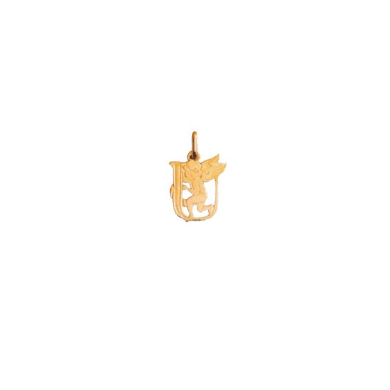 Pendentif ange lettre U Or 9 carats jaune - La Petite Française