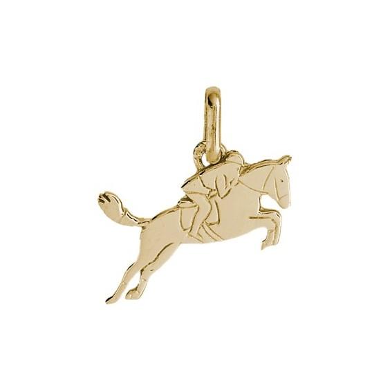 Pendentif cheval et cavalier Or 9 carats jaune - La Petite Française