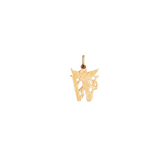 Pendentif ange lettre W Or 9 carats jaune - La Petite Française