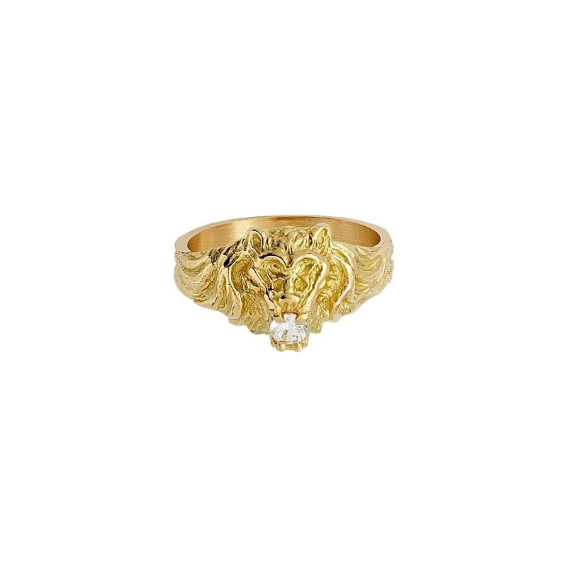 Chevalière lion et zirconium Or 9 carats jaune - La Petite Française